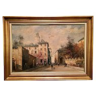 Original Italian Landscape City Scene Oil Painting by Bruno Pigalle
