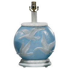 Antique Art Deco Consolidated Glass Blue & White Lamp