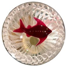 Signed Paul Ysart Studio Glass Paperweight Red Fish