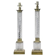 Vintage French Cut Crystal Column Form Table Lamps - A Pair