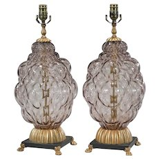 Pair of Vintage Mid Century Modern Bubble Glass Lamps