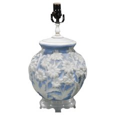 Antique Art Deco Blue & White Glass Lamp