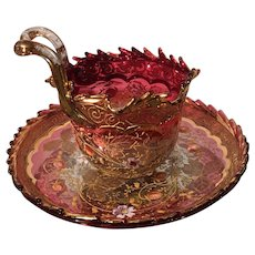 Rare Antique Moser Fancy Enamel Glass Cup & Saucer