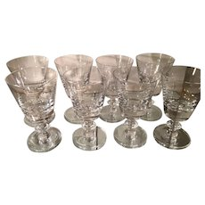 Set of 8 State Plain Val St Lambert Crystal Water Goblets