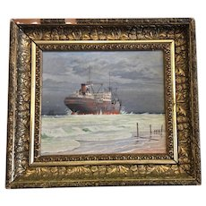Original Nautical Oil Painting of an Ice Breaking Ship by Henning