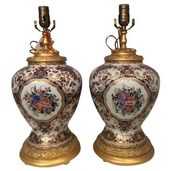 Pair of Continental Porcelain Designer Table Lamps