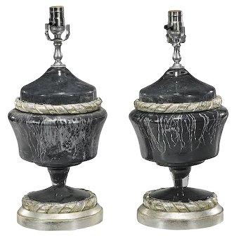 Black & Silver Murano Glass Designer Lamps - A Pair