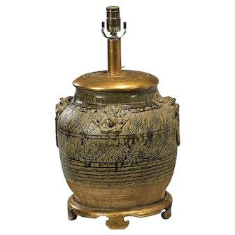 Vintage Designer Table Lamp - Chinese Pottery Foo Dog Urn