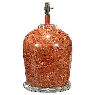 Vintage Karl Springer Orange Travertine Marble Designer Table Lamp
