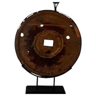 Antique Grist Mill Grinding Wheel Mounted as Modern Art