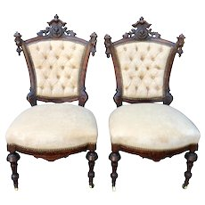 Antique Mahogany Victorian Side Chairs W Faces - a Pair