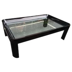 Vintage 1980's Black Lacquer Rounded Corner Coffee Table