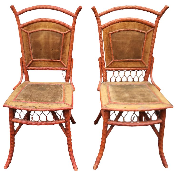 Pair of Antique Painted Wicker Chairs - Pair Of Antique Painted Wicker Chairs : Thrive Decor Ruby Lane