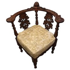 Antique Carved Italian Corner Chair