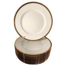 Set of 10 Vintage Richard Ginori Gold Rim Porcelain Dinner Plates