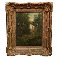 Antique Original Landscape Oil Painting w Cows