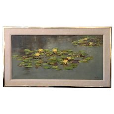 Original Still Life Oil Painting of Lily Pads - Baker