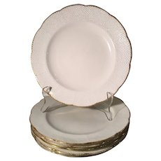 Set of 6 Antique Mortlocks Oxford Street Gold & White Plates by Mintons