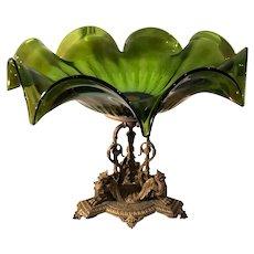 Antique Loetz Art Glass Centerpiece w Gilt Bronze Winged Griffins