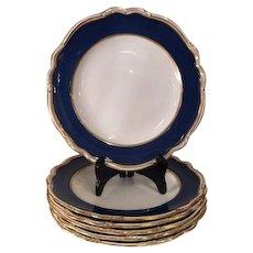 Set of 6 Copeland Spode Porcelain Plates w Blue Lapis Border R7287