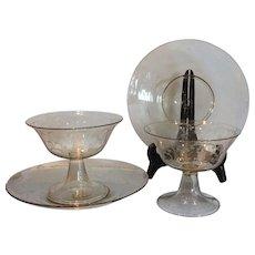 Pair Antique Venetian Glass Intermezzo Bowls & Underplates Etched Lady