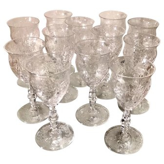 Set of 12 Signed Webb English Cut Crystal Port Wine Stems