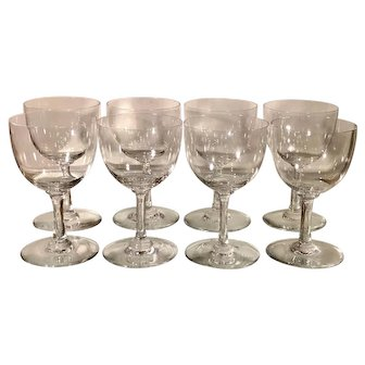 Set of 8 Baccarat French Crystal Wine Stems - Comtesse De Paris
