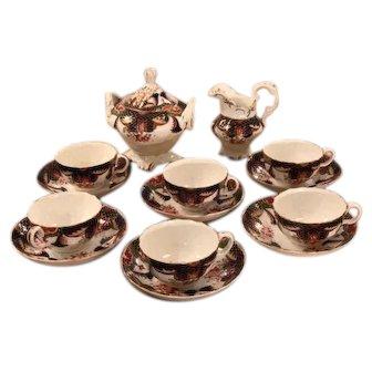 Unusual Antique English Imari Porcelain Tea Set 797