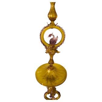 "Unusual Antique Venetian Glass Candlestick 15"""