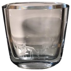 Rare Signed Stromberg Crystal Vase w Engraved Stags