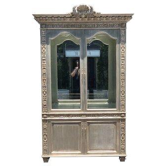 Huge Carved Designer Silver-leaf Showcase Cabinet
