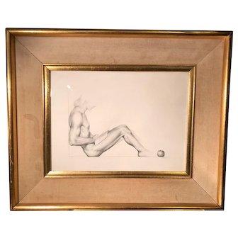 Antique Alejandro Canedo Monochromatic Male Nude Drawing