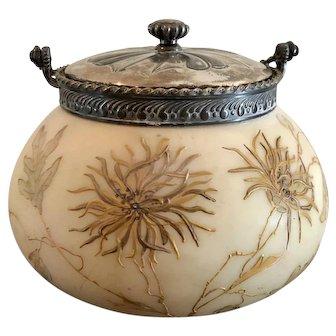 Antique Mt Washington Glass Crown Milano Biscuit Jar