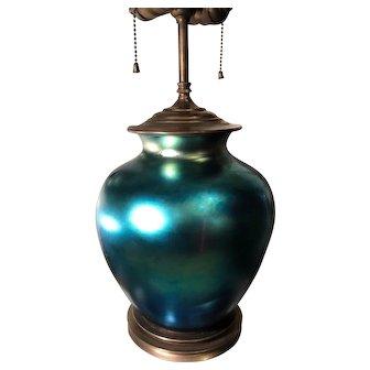 Antique Frederick Carder Steuben Blue Aurene Iridescent Glass Lamp