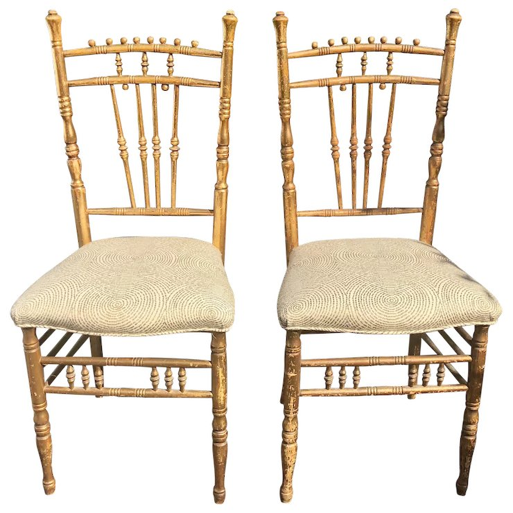 Pair of Antique Regency Style Ballroom Chairs - Pair Of Antique Regency Style Ballroom Chairs : Thrive Decor Ruby Lane