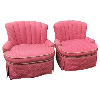 Pair of Feather Stuffed Pink Designer Slipper Chairs