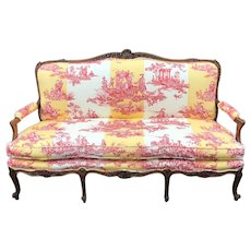 Antique Louis XV Style Gilt-Wood Sofa Settee W/ Brunschwig & Fils - Water Garden
