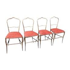 Set of 4 Designer Italian Cast Metal Cafe Chairs With Scalamandre Silk Velvet Cheetah