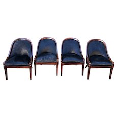 Set of 4 Vintage Designer Louis Philippe Style Black Cowhide Dining Chairs