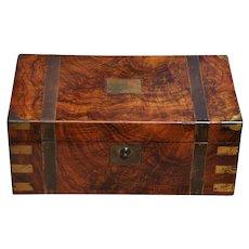 Antique Campaign Chest Lap Desk Box W Black Leather Interior