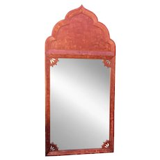Huge Tony Duquette Red Keyhole Mirror W Etched Nude Maiden - Signed Bombay India C.1930