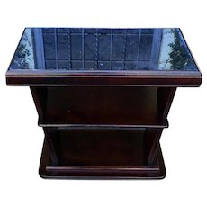 Unique Art Deco Side Table With Blue Mirror Top