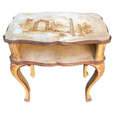 Antique Paint Decorated Italian Side Table