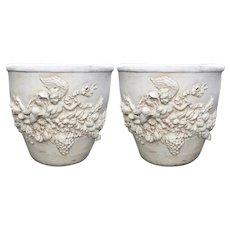 Pair of Huge Brandelli Italian Designer Garden Pots W Angels or Cherubs