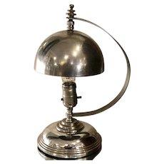 Markel Hemisphere Art Deco Chrome Machine Age Lamp
