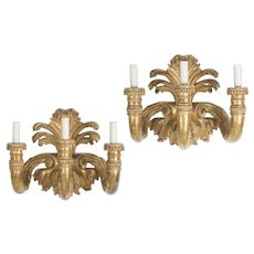 Pair of Huge Fine Designer Neoclassical Style Gilt-Wood Wall Sconces
