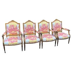 Set of 4 Antique Louis XVI Style Bergere Arm Chairs W Brunschwig & Fils Toile