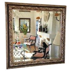 Unusual Ebanista Designer White Gold & Black Square Mirror W Antiqued Beveled Glass