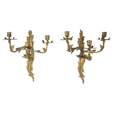 Pair of Antique 19th C Gilt Bronze Louis XV Style Candelabra Sconces