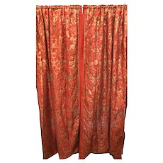 Pair of Genuine Fortuny Gold & Orange-Red Curtains Drapes W Silk Verso